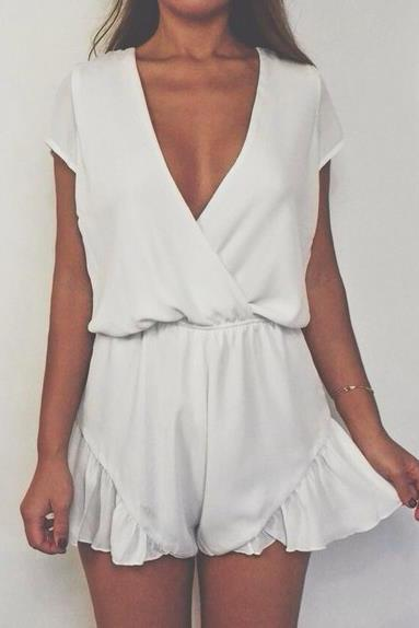 Plunge V Short Sleeved Chiffon Romper with Side Bottom Ruffles