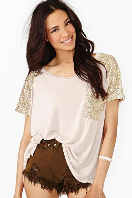 Fashion Sequins Loose Casual Round Neck T-Shirt