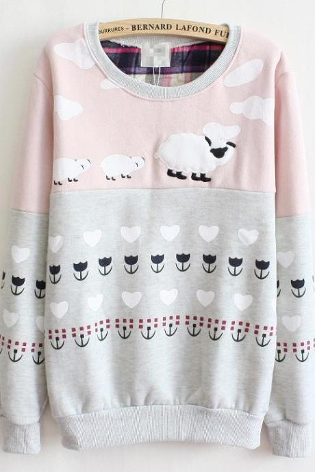 Cute Sheep Lamb Printed Oversized Sweater