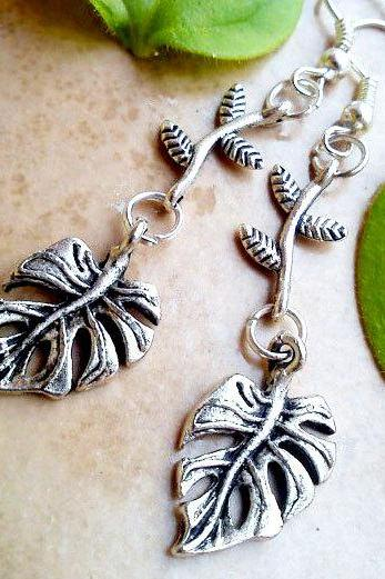 BUY 4 - GET 1 pair earrings FREE..Silver dangle leaf branch charm antique earrings- fall autumn- winter collection
