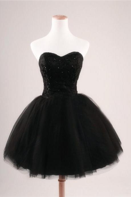 Black Short Prom Dress ,Strapless Ball Gown ,Tulle Party Dress ,Short Celebrity Dresses Evening Dresses ,Sequins Hoecoming Dresses,Sexy Cocktail Dresses