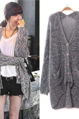 Grey Loose Bat Sleeve Cardigan Sweater