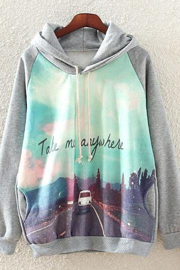 Grey Hooded Long Sleeve Car Print Sweatshirt Hoodie