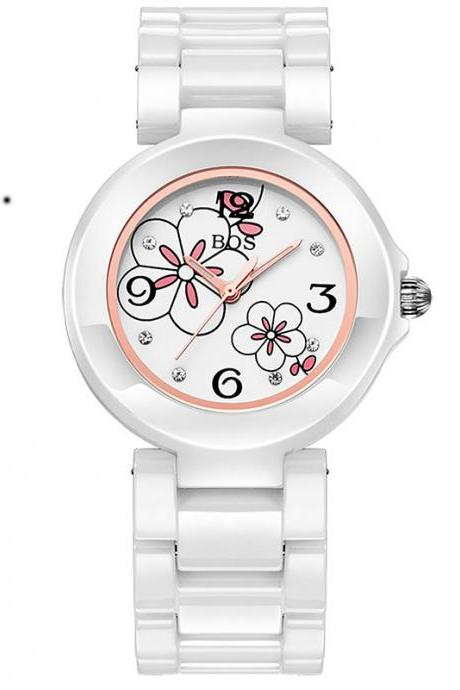 2015 New fashion Women's Four Leaf Clover White Dial Quartz Watch With Ceramic
