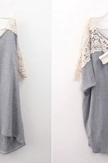 Grey Cute Lace Back Short Sleeve Loose T-shirt