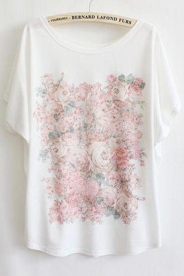 Batwing Short Sleeve Flowers Print T-Shirt