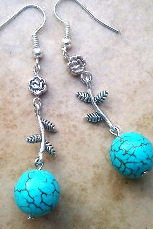 BUY 4 - GET 1 pair earrings FREE..Dangle silver -branch flower turquoise stone comfortable earrings