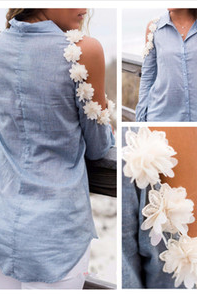 Summer dress The shoulder flowers hollow out flowers in a row of buttons grey long-sleeved shirt SN