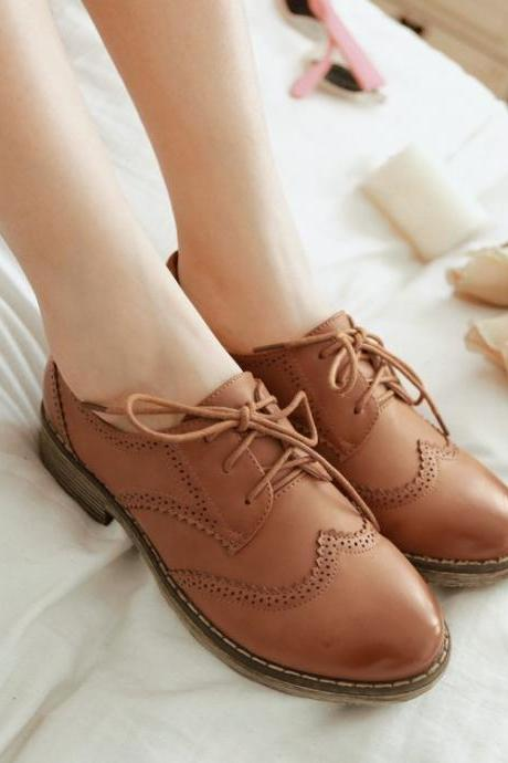 Brown Round Toe Lace Up Flats(00011) 0I88Q9BVO3G