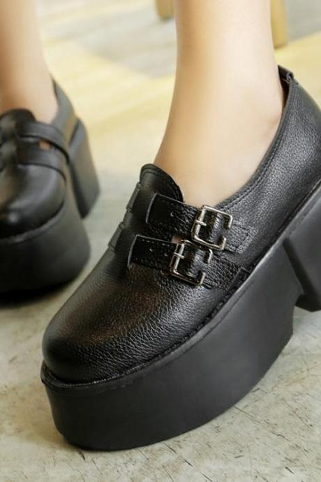 Woman With Metal Buckle Mid Heel Casual PU Flats(00012) Z7QF60GLMWY
