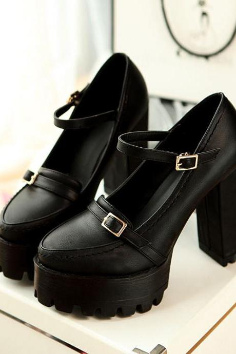 Black Chunky Ankle Strap High Heel Casual Pumps(00002) K5W2D9Q8GYW