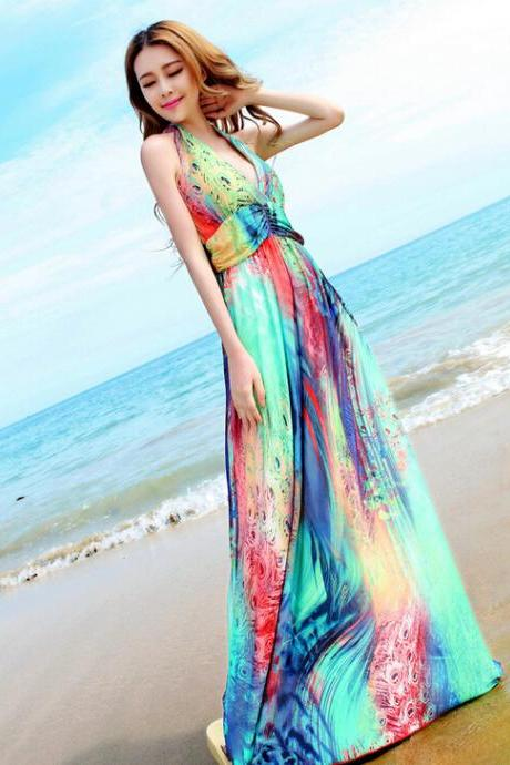 Bohemian dress v-neck hanging neck beach dress