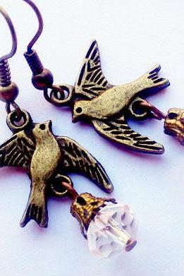 Bronze cute flying bird crystal earrings..casual vintage look..great gift
