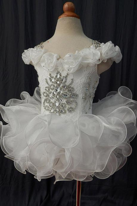 lafine Hot Sale Flower Girl Dress With Beading Infant Toddler Pageant Clothes Handmade