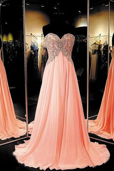 Long Chiffon Coral Prom Dress, Elegant Prom Dresses, Elegant Prom Dress, Custom Prom Dress, Cheap Prom Dresses, Senior Formal Dress