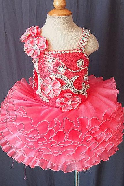 Lafine flower girl dress with beading full handmade Ruffle Organza Baby Infant Toddler Pageant Clothes Red