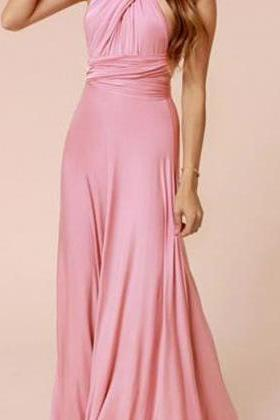 Beautiful Pink Cross Back Long Dress
