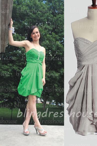 Short Bridesmaid Dress, Grey Bridesmaid Dresses, Cheap Bridesmaid Dress, Junior Bridesmaid Dress, Chiffon Bridesmaid Dress, Wedding Party Dresses, Dresses For Weddings