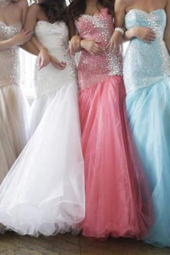 Newest Beading And Tulle Prom Dresses, The Charming Evening Dresses, Prom Dress,Lace-Up Real Made Prom Dresses On Sale,