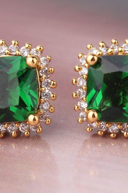 Emerald Stud Earing 24K Yellow Gold Filled Earrings