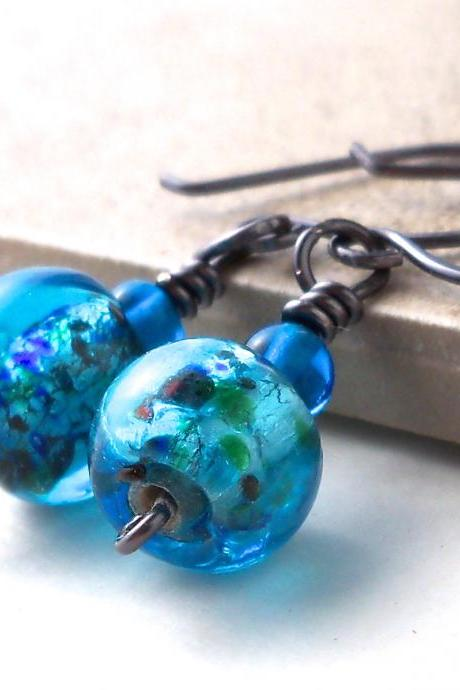 Blue Glass Beaded Gunmetal Earrings, Glass Drop Earrings