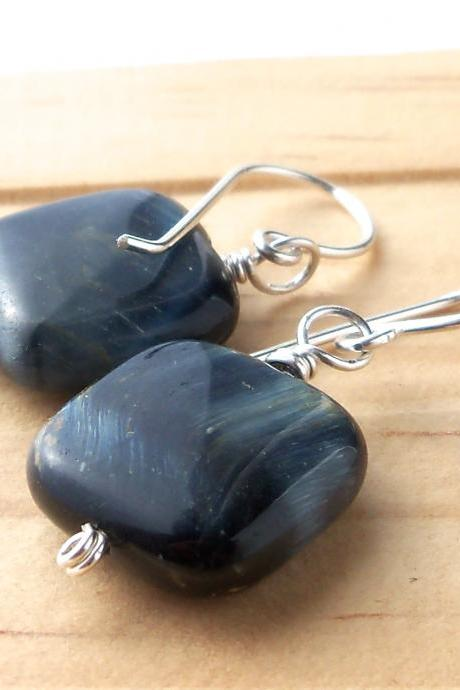 Gemstone Dangle Earrings, Blue Tiger, and Sterling Silver