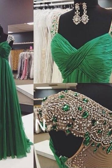 Hunter Green Prom Dress, Cap Sleeve Prom Dresses, Elegant Prom Dress, Chiffon Prom Dresses, Long Prom Dress, Prom Dresses 2016, Vintage Prom Dress, Long Evening Dress