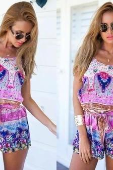 Fashion Printed Jumpsuit Sling