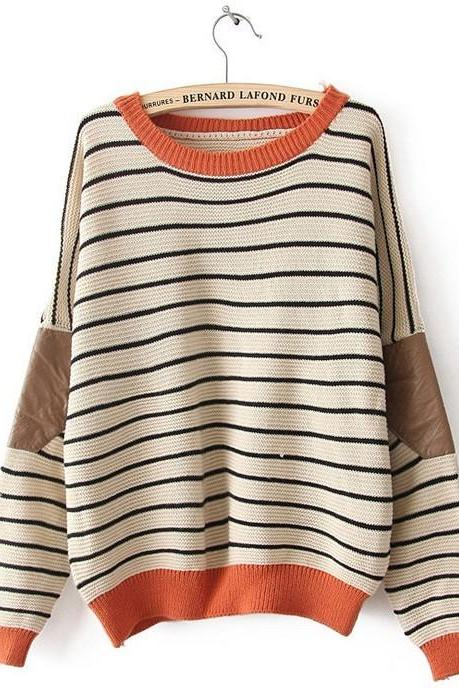 Hot sale New Fashion Cream Striped Bat Sleeve Sweater &Cardigan