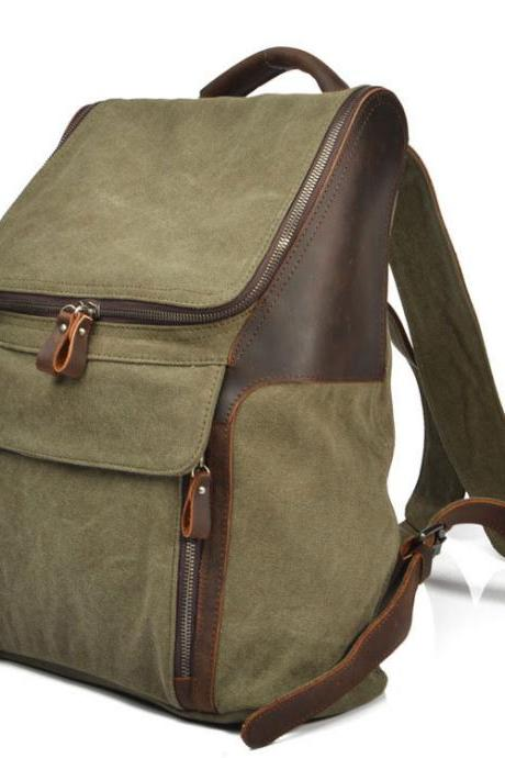 Pocket Zipper Solid Canvas Travel Backpack