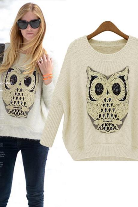 Hot sale Unique Sequined Owl Embroidery Bat Sleeve Sweater