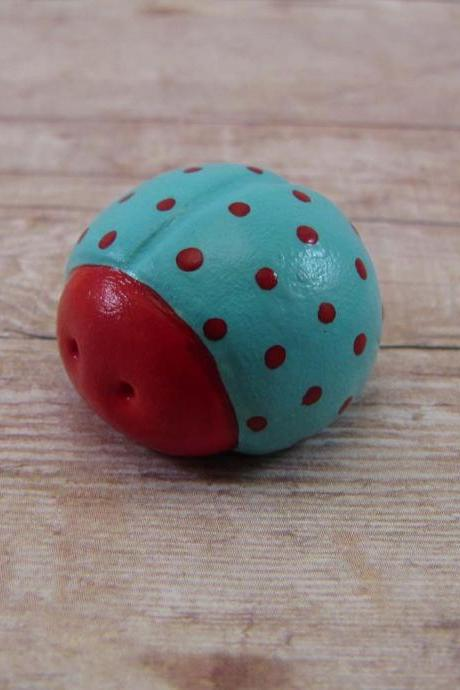 Bahama Blues and Red Spotted Ladybug Figurine or Terrarium Decoration Made to Order