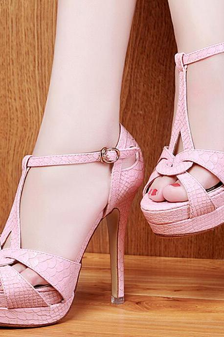 Sexy stilettos embossed high-heeled sandals-pink
