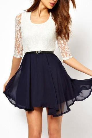 U Lace Stitching Chiffon Dress Pleated Skirt