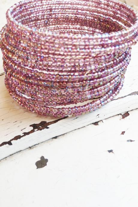 purple memory wire bracelet