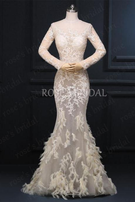 Champagne Evening Dress, Mermaid Evening Dress With Feather, Long Sleeve Evening Gown, Sexy Evening Dress, Long Prom Dresses, Sheer Formal Dresses, Evening Dress 2016, Real Dress