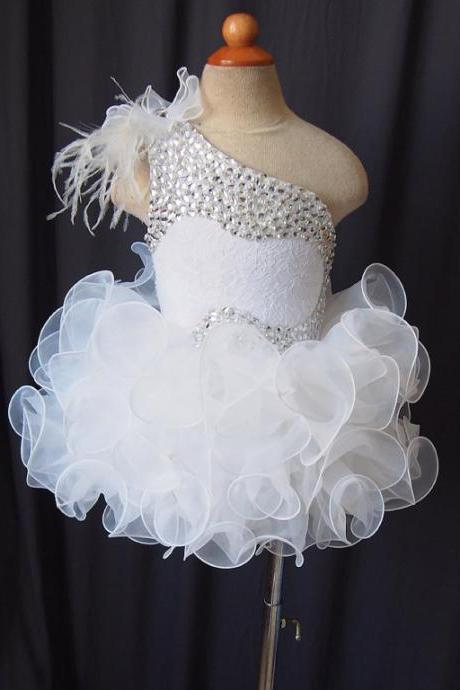 ruffle organza flower girl dress with beading full handmade one-shoulder baby tutu pageant clothing