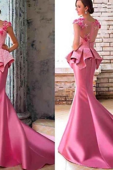 Hot Pink Evening Dress, Charming Evening Dress, Mermaid Evening Dress, Sexy Evening Gowns, Lace Evening Dresses, Formal Dresses 2016, Unique Evening Gowns