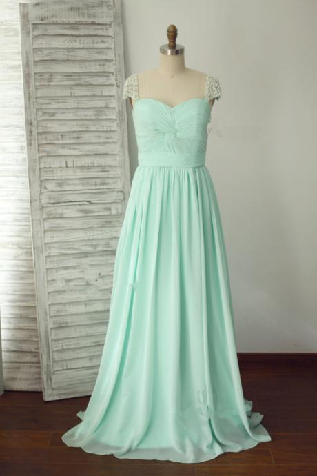 Blue Chiffon Long Bridesmaid Dress 2015, Pearl Beaded Cap Sleeves Prom Dress, Prom Dresses 2015,Bridal Gowns,Bridesmaid Dress For Weddings