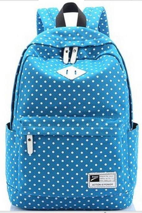 2015 Hot sale Nice Preppy Style Polka Dot Canvas Backpack for women-8872