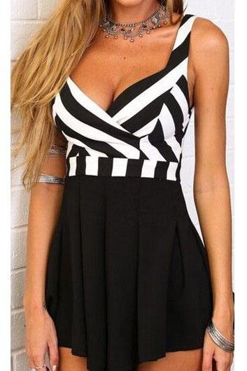 Sexy V Neck Pleated Striped Boot Cut Romper