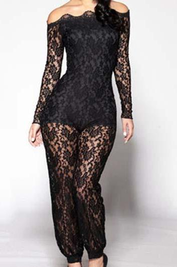 Free shipping Off The Shoulder Semi Sheer Lace Jumpsuits - Black