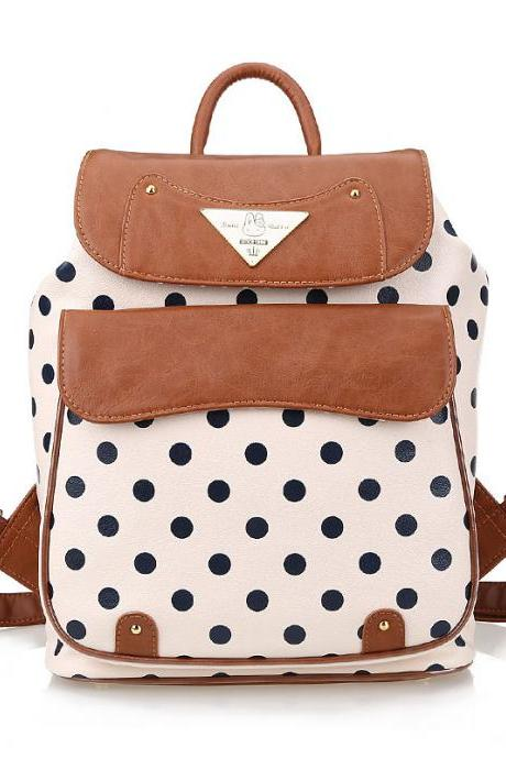 Polka Dot PU School Bag Travel Backpack