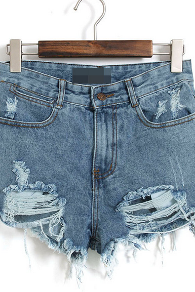 High Rise Distressed Denim Shorts Featuring Frayed Hem