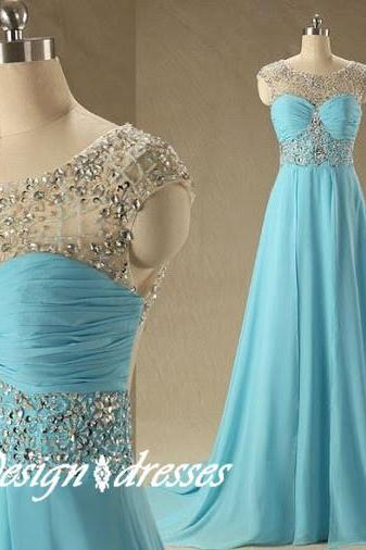 Custom Made Beadings Blue Chiffon Party Dress ,Floor Length Prom Dresses Formal Dresses,Formal Gowns, prom gown Evening Dresses Prom Dresses , Cheap Prom Dresses 2015 Prom Dress
