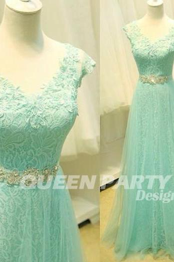2015 Mint Lace V Neck Tulle beaded Prom Dress With A Line