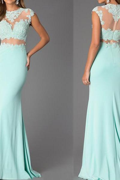 Two Pieces Prom Dresses, Light Blue Prom Dress, Sexy Formal Dress, Long Evening Dress, Lace Prom Dresses, Tiffany Blu Prom Dress, Prom Dresses 2015