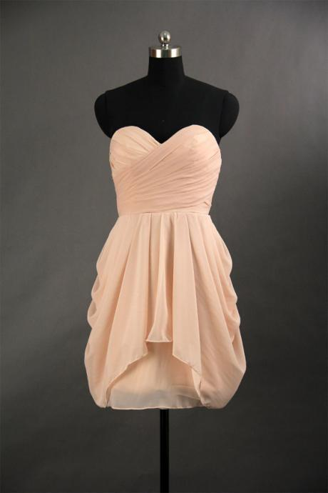 Pink Chiffon Ruched Sweetheart Short Bridesmaid Dress