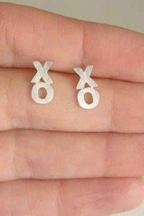 XO Earrings - Sterling Silver Studs - Hugs and Kisses