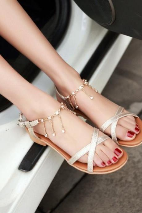 Beautiful Boho Cross Strap Sandals In Gold